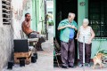 Left: A man enjoying rum in Cienfuegos. Right: An older couple preparing for a portrait in Havana.